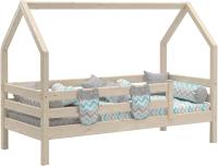 Стилизованная кровать детская Мебельград Соня с надстройкой (прозрачный лак) -