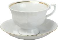 Чашка с блюдцем Cmielow i Chodziez Iwona / B164-8202I0A (золотая обводка) -