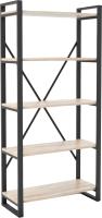 Стеллаж Hype Mebel Стандарт-2 80x200 (черный/древесина белая) -