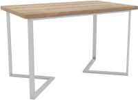 Обеденный стол Hype Mebel Дельта 125x75 (белый/дуб галифакс натуральный) -