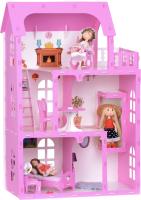 Кукольный домик Krasatoys Карина с мебелью / 000301 (белый/розовый) -