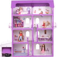 Кукольный домик Krasatoys Коттедж Александра с мебелью / 000253 (белый/сиреневый) -