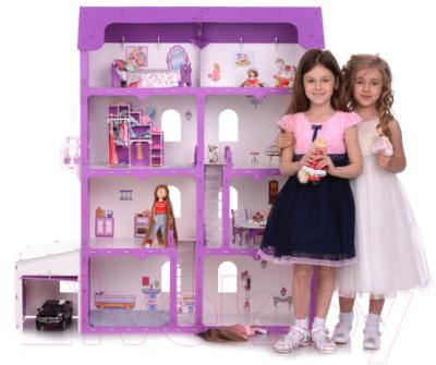 Кукольный домик Krasatoys Коттедж Александра с мебелью / 000253 (белый/сиреневый)