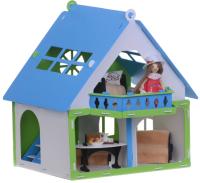 Кукольный домик Krasatoys Дачный дом. Варенька с мебелью / 000257 (белый/голубой) -