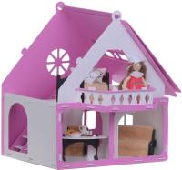 Кукольный домик Krasatoys Дачный дом. Варенька с мебелью / 000256 (белый/розовый) -