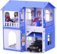 Кукольный домик Krasatoys Дом Алиса с мебелью / 000281 (белый/синий) -