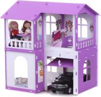 Кукольный домик Krasatoys Дом Алиса с мебелью / 000282 (белый/сиреневый) -