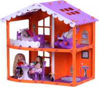 Кукольный домик Krasatoys Дом Анжелика с мебелью / 000254 (оранжевый/сиреневый) -