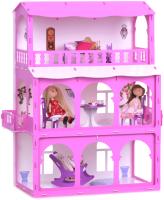 Кукольный домик Krasatoys Дом Бриджит с мебелью / 000286 (белый/розовый) -