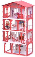 Кукольный домик Krasatoys Дом Елена с мебелью / 000284 (белый/красный) -