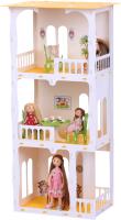 Кукольный домик Krasatoys Дом Жасмин с мебелью / 000274 (белый/желтый) -