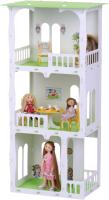 Кукольный домик Krasatoys Дом Жасмин с мебелью / 000275 (белый/салатовый) -
