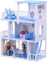 Кукольный домик Krasatoys Дом Маргарита с мебелью / 000272 (белый/голубой) -