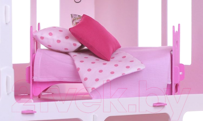 Кукольный домик Krasatoys Дом Маргарита с мебелью / 000273 (белый/розовый)