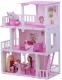 Кукольный домик Krasatoys Дом Маргарита с мебелью / 000273 (белый/розовый) -
