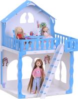 Кукольный домик Krasatoys Дом Марина с мебелью / 000266 (белый/голубой) -