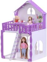 Кукольный домик Krasatoys Дом Марина с мебелью / 000267 (белый/сиреневый) -