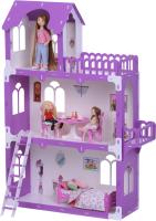 Кукольный домик Krasatoys Дом Милана с мебелью / 000271 (белый/сиреневый) -