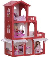 Кукольный домик Krasatoys Дом Николь с мебелью / 000288 (белый/красный) -