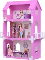 Кукольный домик Krasatoys Коттедж Екатерина с мебелью / 000263 (белый/розовый) -