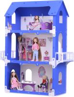 Кукольный домик Krasatoys Коттедж Екатерина с мебелью / 000262 (белый/синий) -