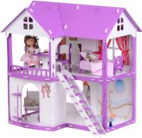Кукольный домик Krasatoys Коттедж Светлана с мебелью / 000251 (белый/сиреневый) -