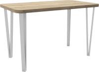 Обеденный стол Hype Mebel Польский 110x70 (белый/дуб галифакс натуральный) -