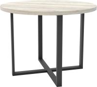 Обеденный стол Hype Mebel Раунд 80x80 (черный/древесина белая) -