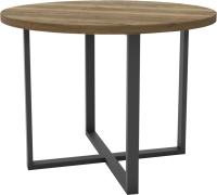 Обеденный стол Hype Mebel Раунд 100x100 (черный/дуб галифакс олово) -