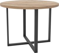 Обеденный стол Hype Mebel Раунд раздвижной 80x80 (черный/дуб галифакс натуральный) -
