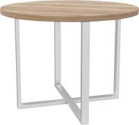 Обеденный стол Hype Mebel Раунд раздвижной 80x80 (белый/дуб галифакс натуральный) -
