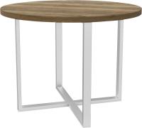 Обеденный стол Hype Mebel Раунд раздвижной 80x80 (белый/дуб галифакс олово) -