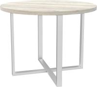 Обеденный стол Hype Mebel Раунд раздвижной 80x80 (белый/древесина белая) -