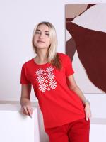 Футболка Fainy Ярыла с вышивкой (XS/40, красный) -