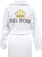 Халат для бани Fainy Big Boss с вышивкой (XXL/54, белый) -