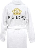 Халат для бани Fainy Big Boss с вышивкой (XXXL/56, белый) -