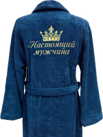 Халат для бани Fainy Настоящий мужчина с вышивкой (L/50, темно-синий) -