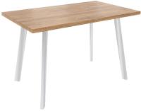 Обеденный стол Listvig Фин 120-152x70 (дуб/белый/металлик) -