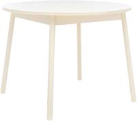Обеденный стол Импэкс Leset Мидел круглый (металл кремовый/стекло кремовое) -