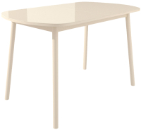 Обеденный стол Импэкс Leset Мидел Мини (металл кремовый/стекло кремовое) -