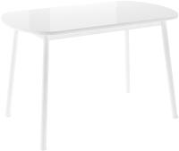 Обеденный стол Импэкс Leset Мидел Мини (металл белый/стекло белое) -