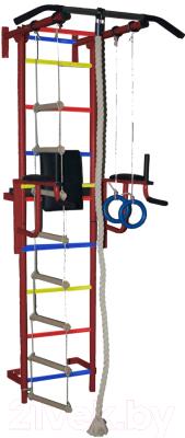 Детский спортивный комплекс Крепыш Пристенный с брусьями-1 (с ПВХ покрытием, бордовый)