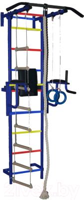 Детский спортивный комплекс Крепыш Пристенный с брусьями-1 (с ПВХ покрытием, синий)