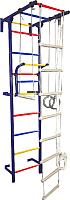 Детский спортивный комплекс Крепыш Г-образный пристенный (с ПВХ покрытием, синий) -