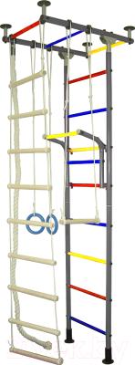 Детский спортивный комплекс Крепыш Г-образный (с ПВХ покрытием, серый)