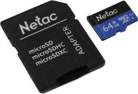 Карта памяти Netac MicroSD Card P500 Standard 64GB (NT02P500STN-064G-R) (с адаптером) -