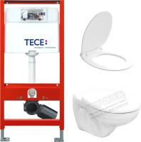 Унитаз подвесной с инсталляцией Керамин Гранд R + 9300000 (с жестким сиденьем Slim и микролифтом) -