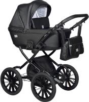 Детская универсальная коляска INDIGO Broco Eco Plus 14 2 в 1 (Be 03, черная кожа) -