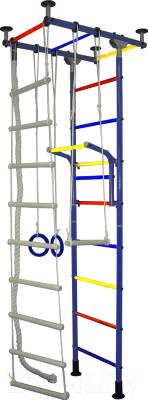 Детский спортивный комплекс Крепыш Г-образный (с ПВХ покрытием, синий)