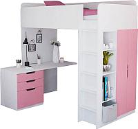 Кровать-чердак Polini Kids Simple с письменным столом и шкафом (белый/розовый) -